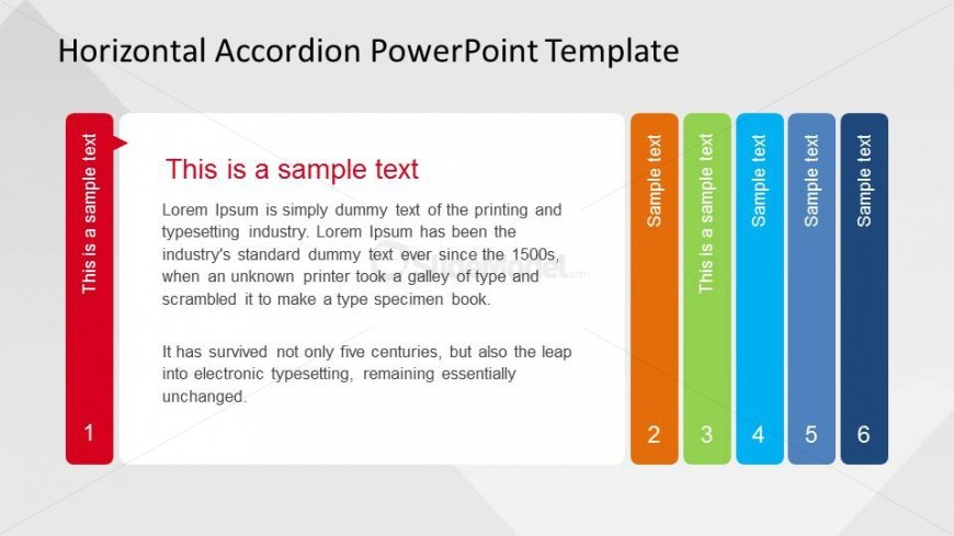 Step one of six in Horizontal Accordion PowerPoint Template