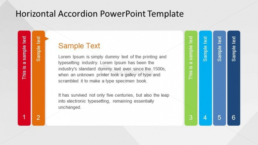 PowerPoint Horizontal Accordion Templates Step 2