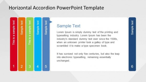 Fifth Step Horizontal Accordion for PowerPoint