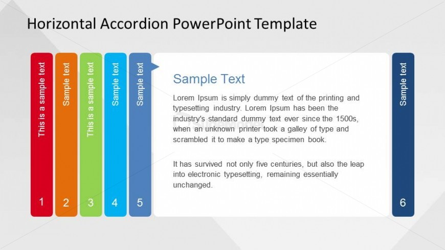 Step 5 of 6 of Horizontal Accordion for PowerPoint