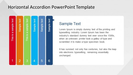 6 Steps Horizontal Accordion for PowerPoint