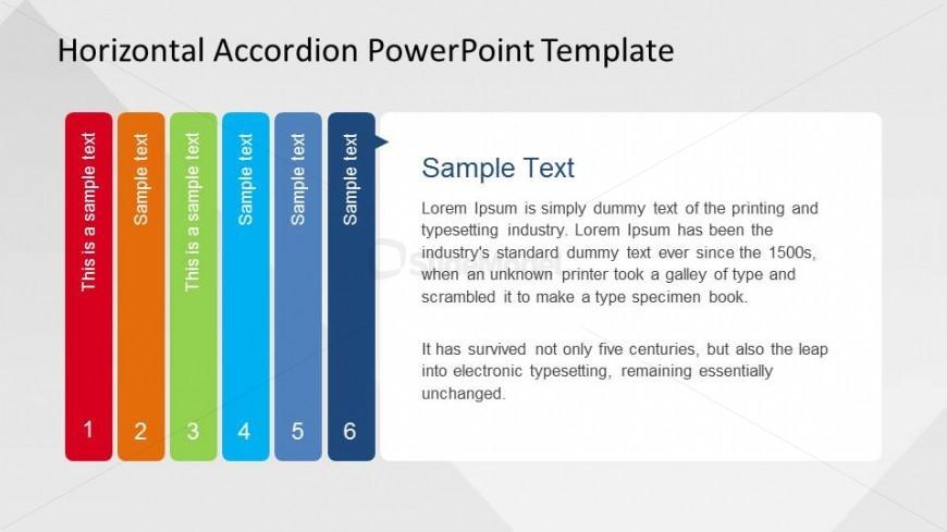 Step Sixth of PowerPoint Horizontal Accordion
