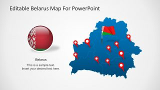 PowerPoint Map of Belarus With Flag Marker Icon