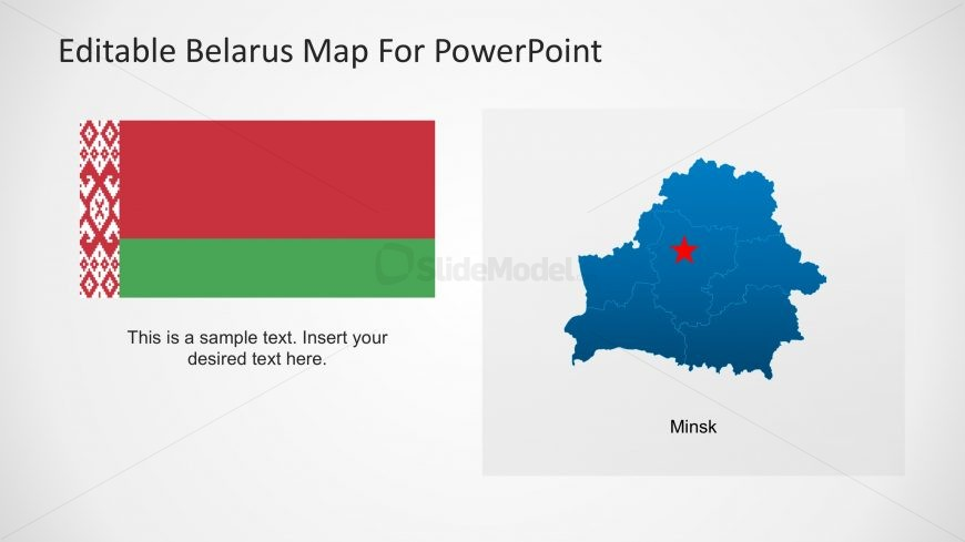 PPT Map Templates of Belarus with Minks Capital Highlighted