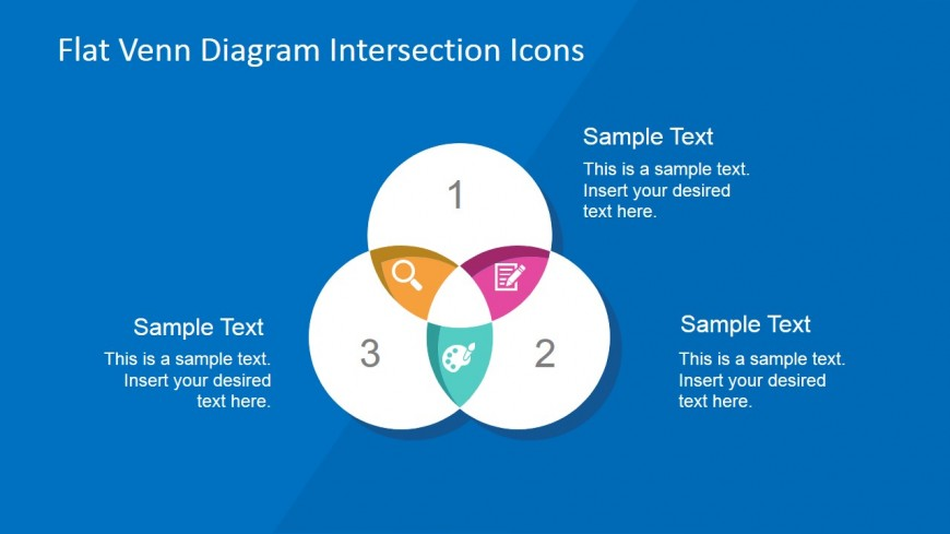 three sets venn diagram with flat icons intersections