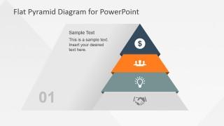 Flat Pyramid Diagram 4 Steps - 1 Level