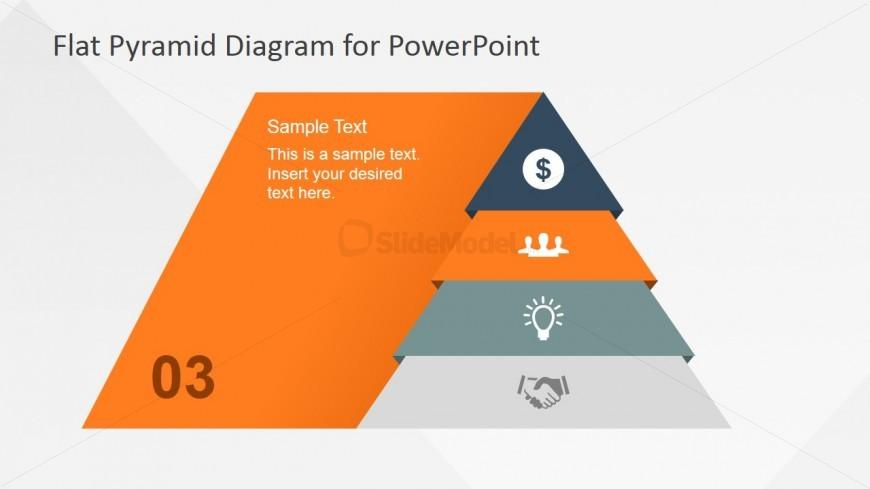 Flat Pyramid Diagram 4 Steps - 3 Level