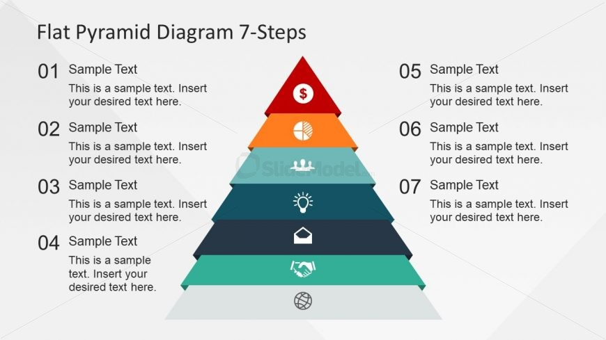7 Level Pyramid Colorful Chart