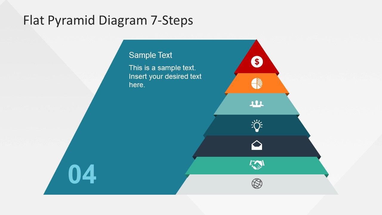 7 Steps Flat Pyramid Powerpoint Diagram