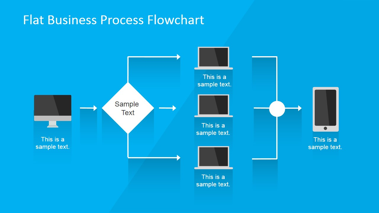 Flat business process flowchart for powerpoint slidemodel flat flowchart design for business presentation workflow business template for powerpoint wajeb