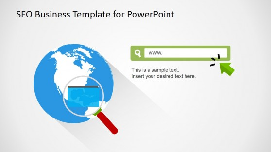 SEO Business Earth Clipart for PowerPoint and Web Address