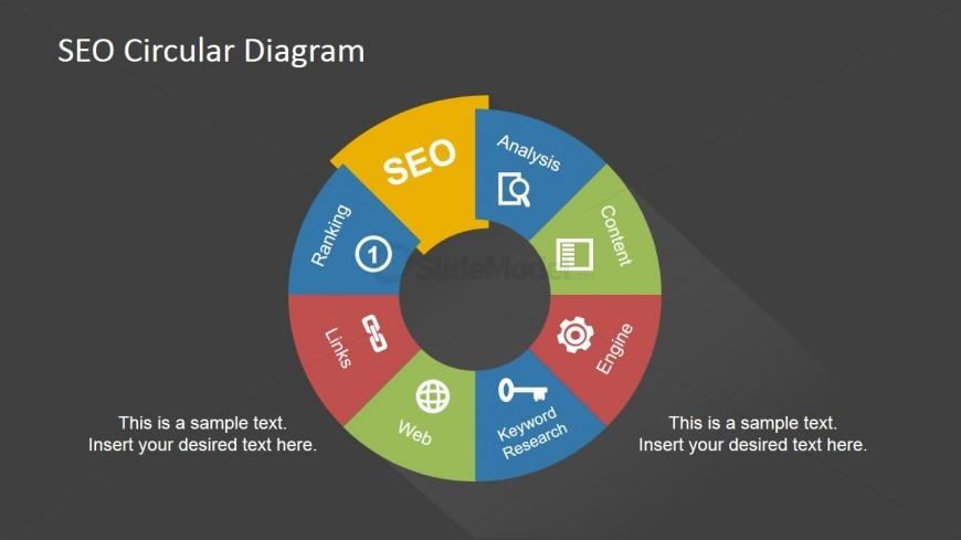 Dark SEO Circular Diagram & PowerPoint Icons