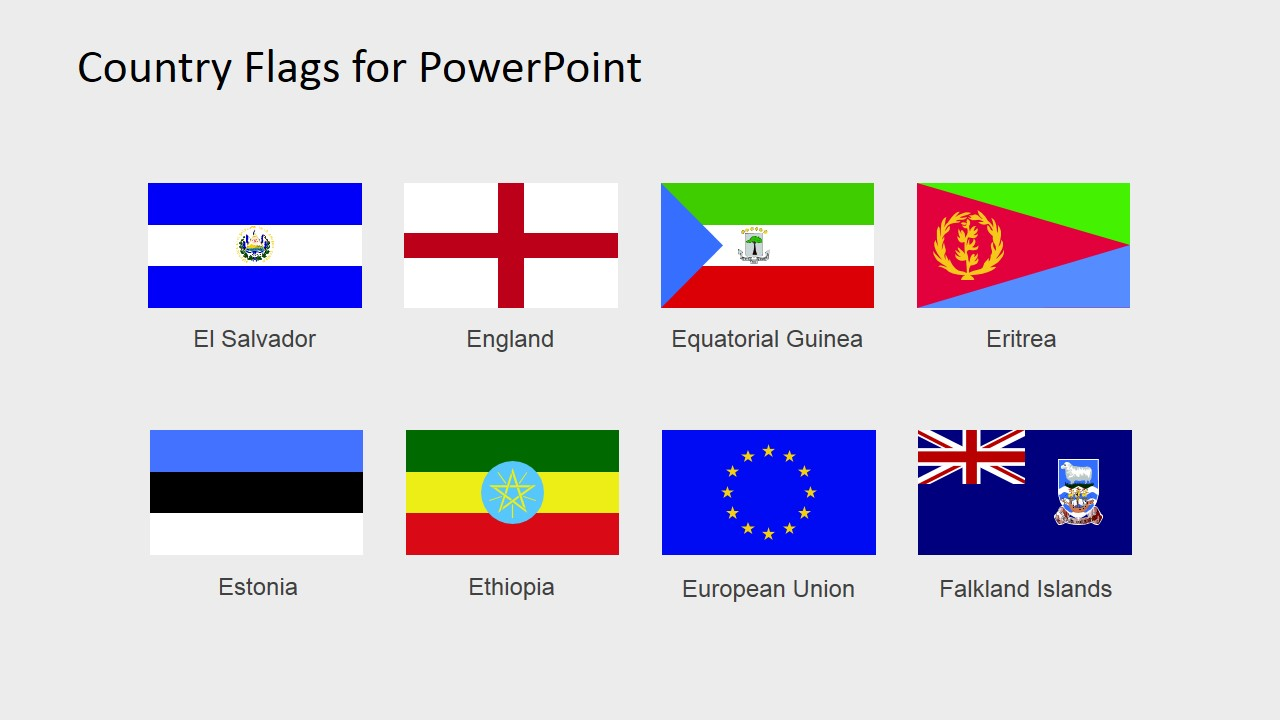 World Flags Point Slide Countries In A Continent Template
