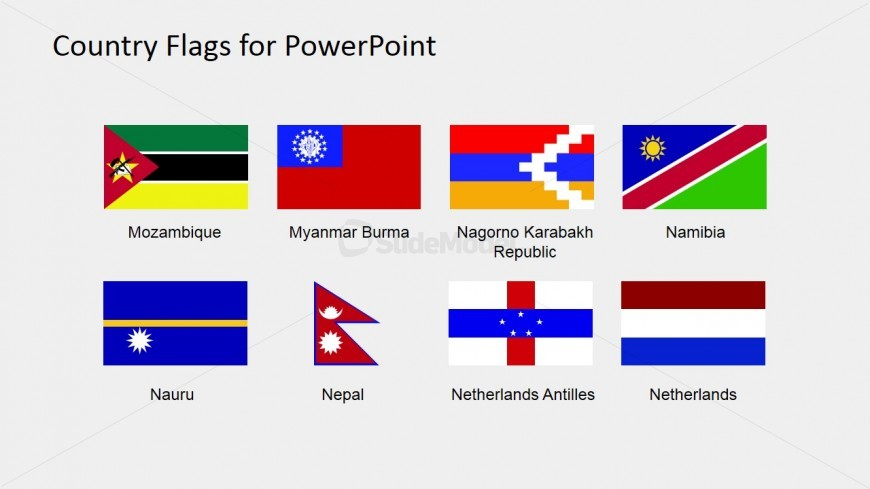 PowerPoint Clipart Slide of Flags