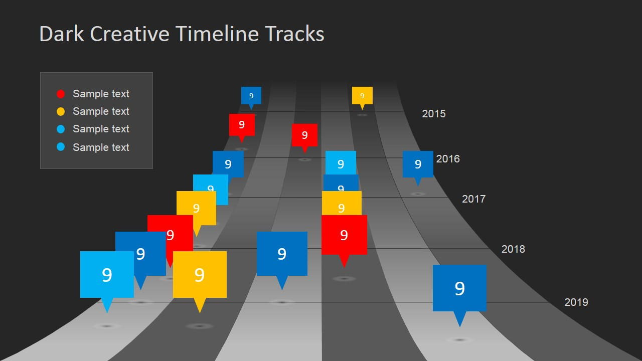 dark timeline tracks powerpoint template