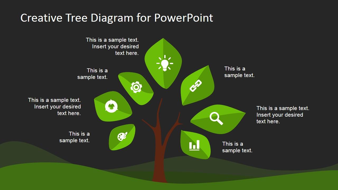 Creative tree diagram powerpoint template slidemodel powerpoint dark creative tree diagram with icons toneelgroepblik Image collections