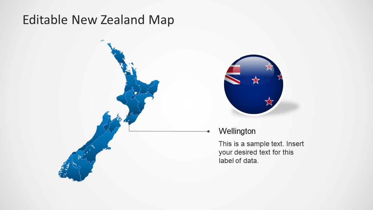Editable new zealand map powerpoint template slidemodel wellington new zealand map slide design toneelgroepblik Images