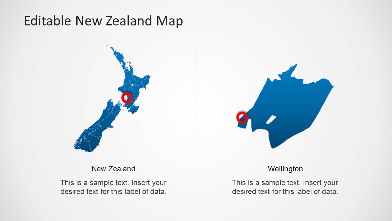 Editable new zealand map powerpoint template slidemodel new zealand map capital city slide design toneelgroepblik Choice Image