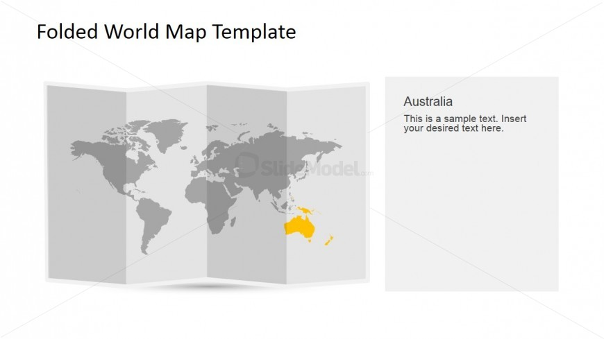 Australia Clipart for PowerPoint in a 3D Folded World Map