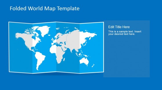 3D Folded Effect Map Template for PowerPoint