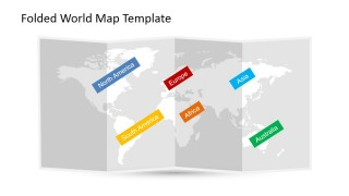 World Continents Label for PowerPoint in a 3D Folded Worldmap