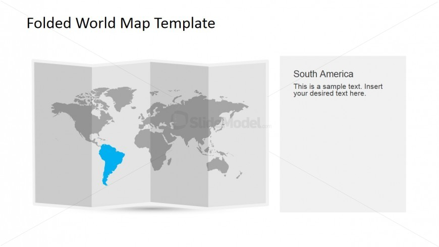 South America Clipart for PowerPoint in a 3D Folded Worldmap