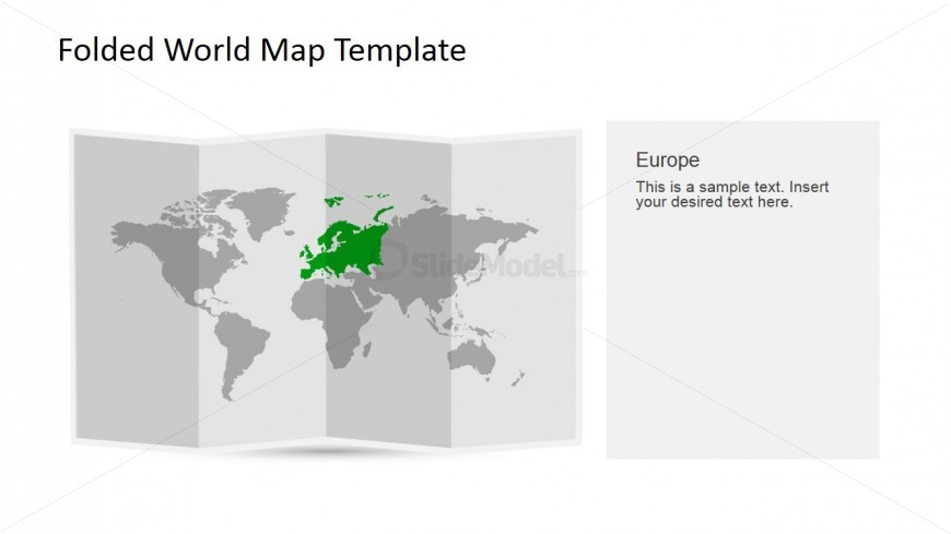 Europe Clipart for PowerPoint in a 3D Folded Worldmap