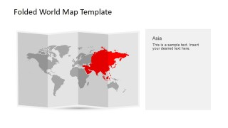 Asia Clipart for PowerPoint in a 3D Folded World Map