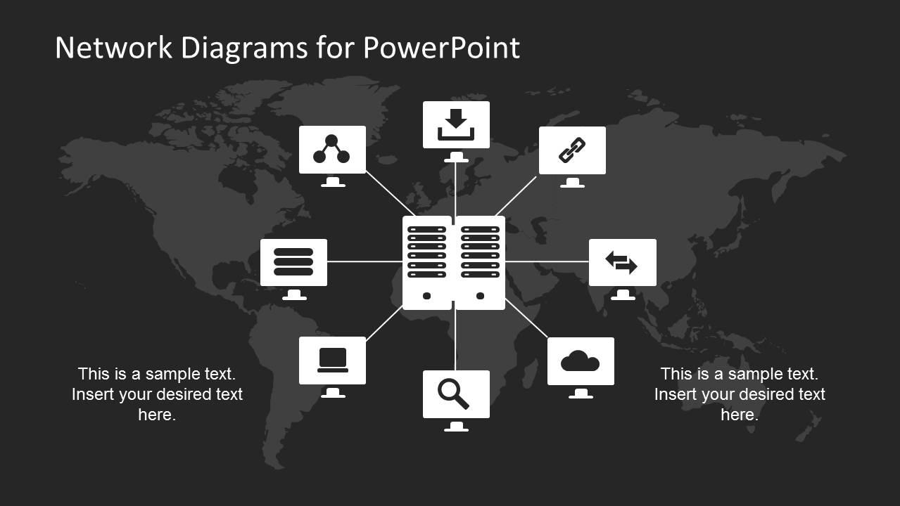 Computer Star Network Diagram for PowerPoint SlideModel