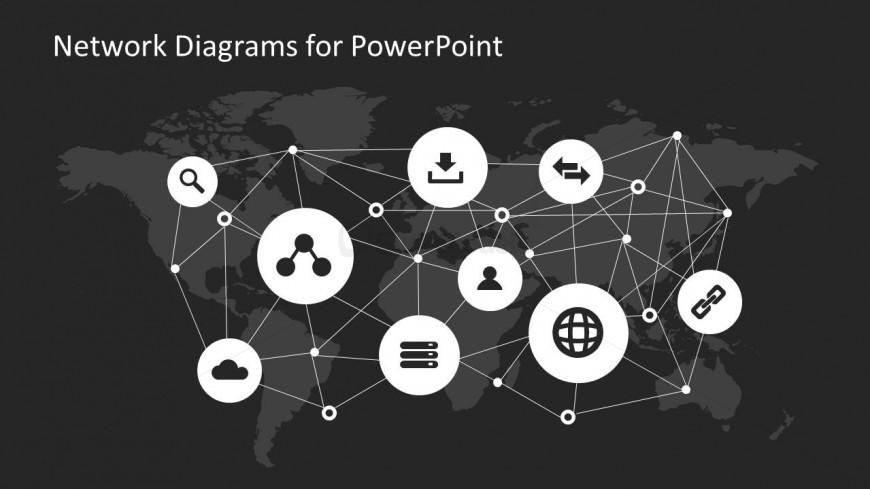 World Map Network Diagram for PowerPoint