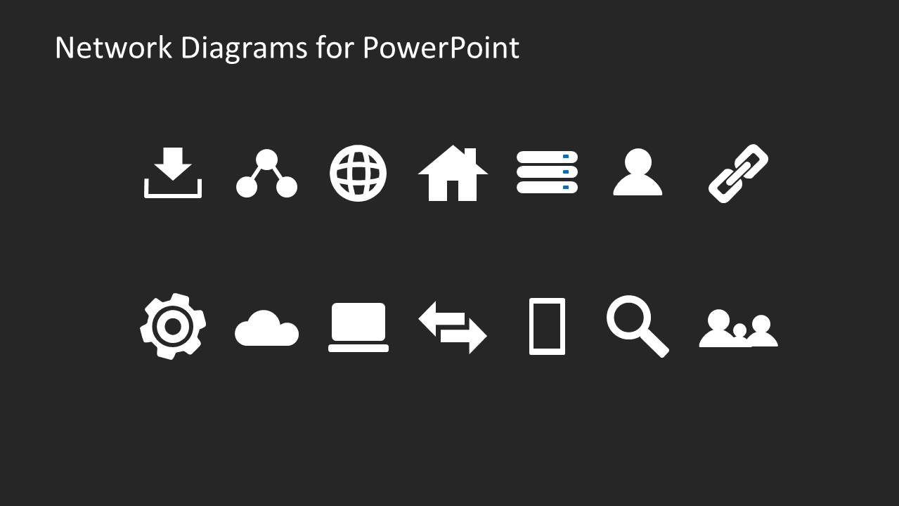Simple network diagrams for powerpoint dark version slidemodel collection of network diagram icons for powerpoint ccuart Images