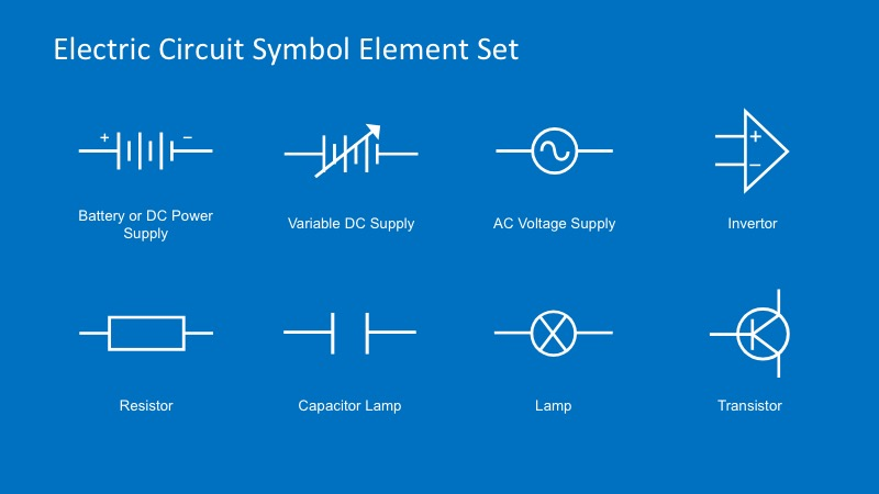 electric circuit symbols element set for powerpoint slidemodel rh slidemodel com PowerPoint Charts and Diagrams wiring diagram powerpoint with extra switch