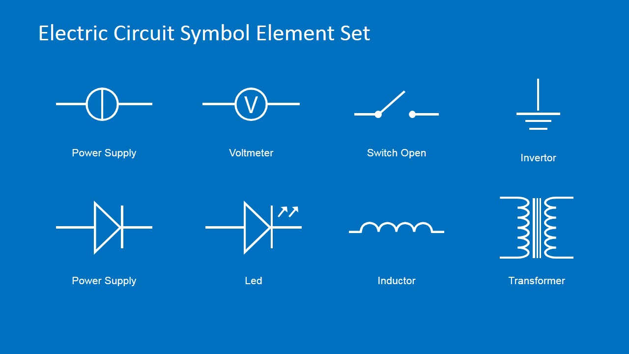electric circuit symbols element set for powerpoint slidemodel rh slidemodel com electrical schematics part spfb-3a electrical schematics ppt