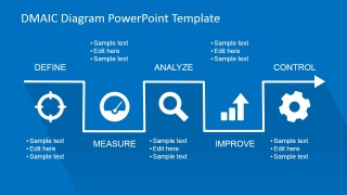 Flat DMAIC Process Diagram for PowerPoint