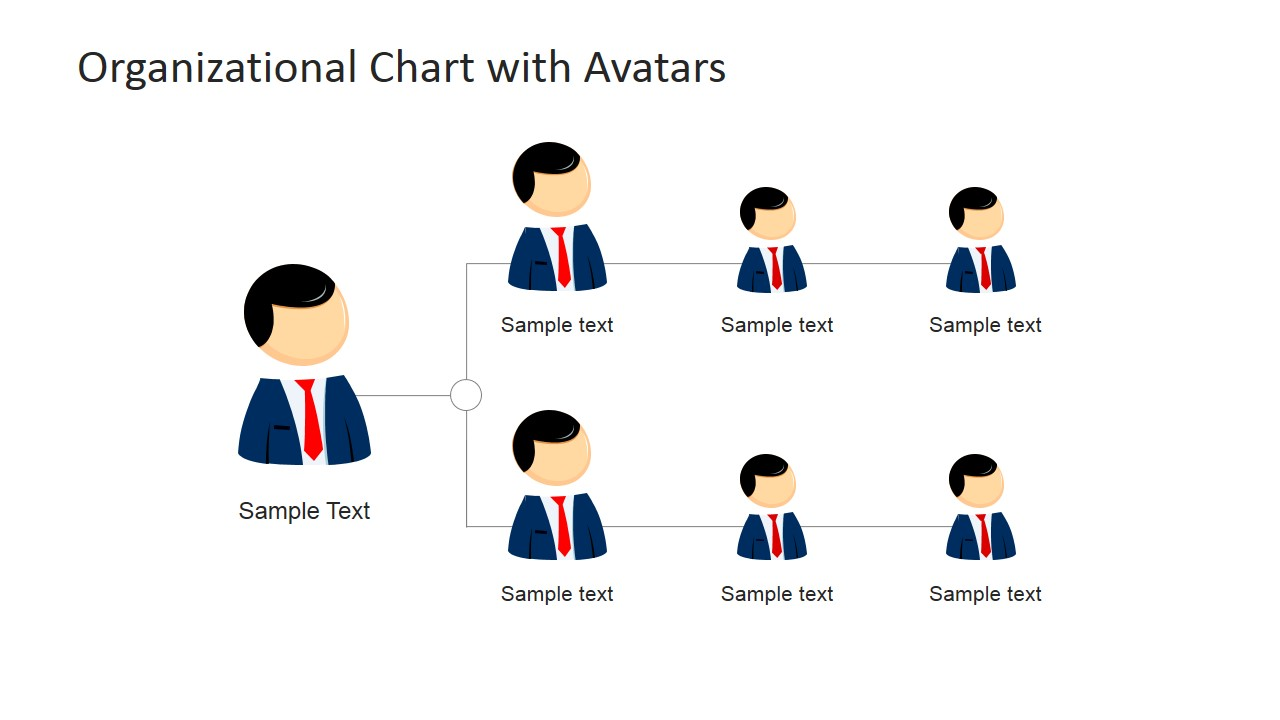 organizational chart template with avatars for powerpoint