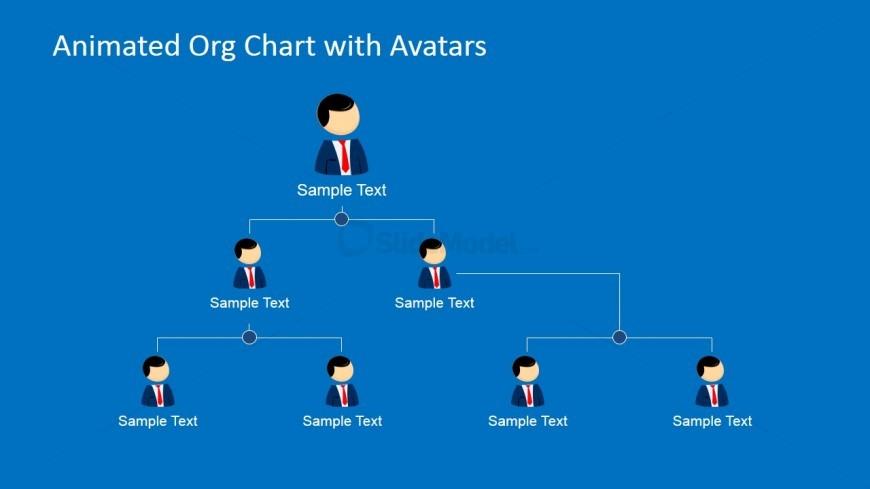 Org Chart Slide Design for PowerPoint with Avatars
