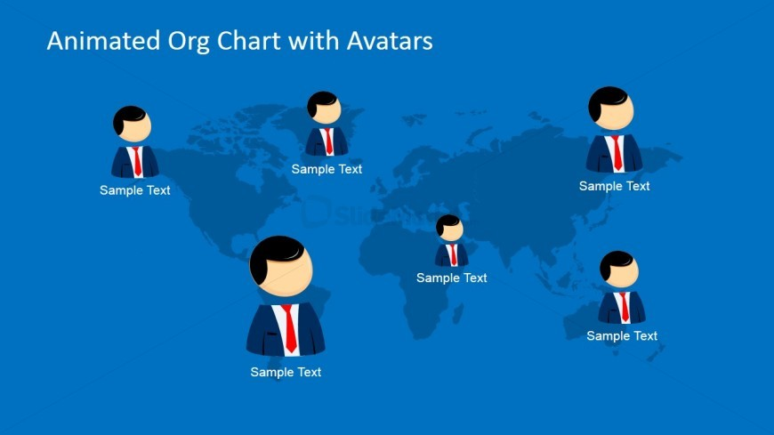 World Map Organizational Chart with Avatars