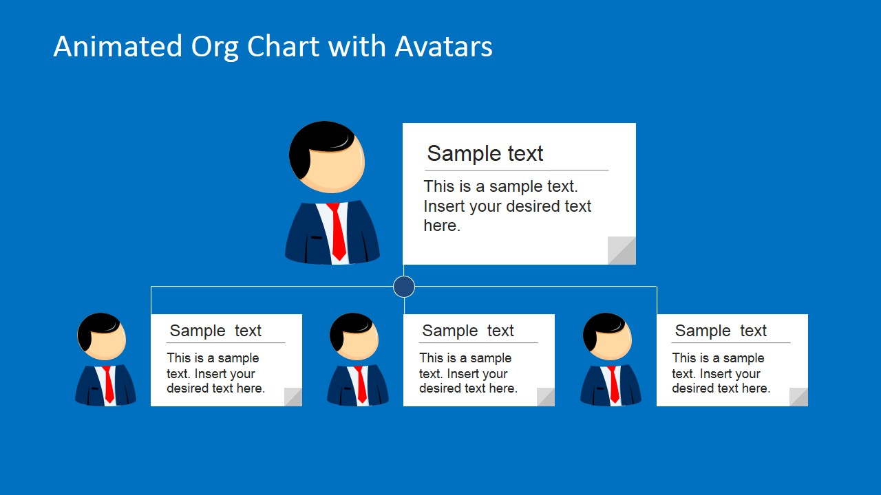 Animated org chart powerpoint template slidemodel 2 levels org chart with avatars text boxes toneelgroepblik Image collections