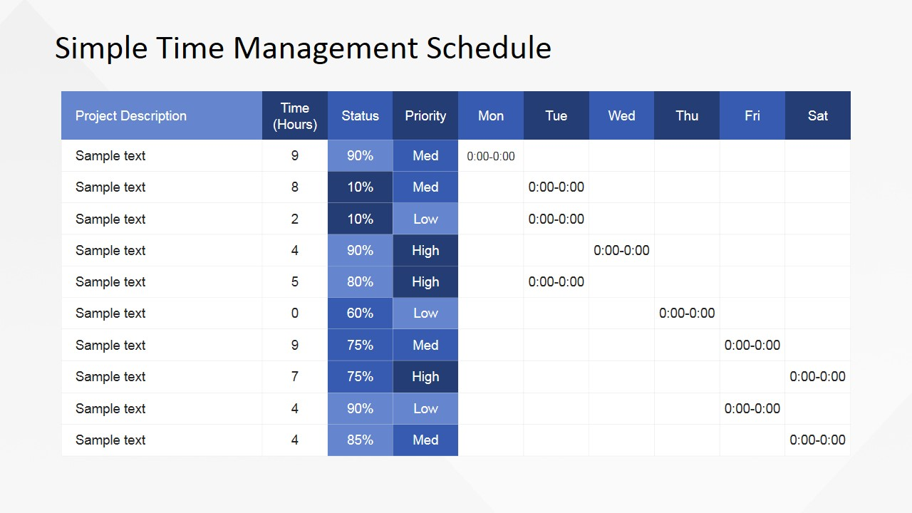 Simple time management powerpoint table slidemodel simple time management powerpoint table toneelgroepblik Gallery