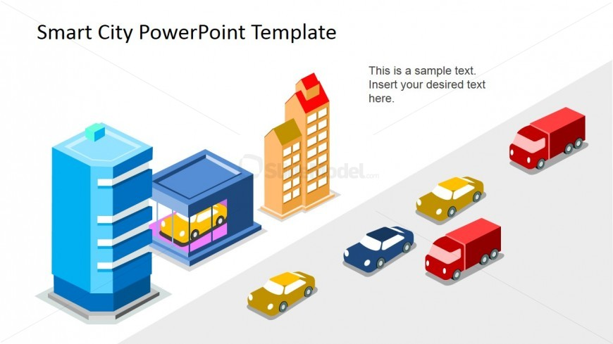 PowerPint 3D Icons representing Smart City concepts