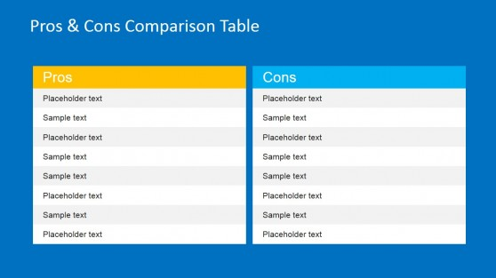 Pros & Cons Comparison Table for PowerPoint