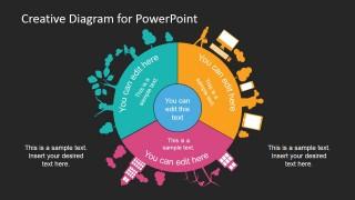 Dark Circular Slide Design Diagram for PowerPoint