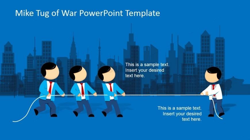 Mike Tug of War Game in City Slide Design