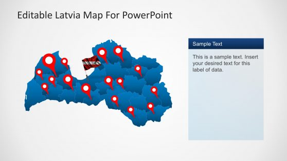 Editable Map with Markers of Latvia