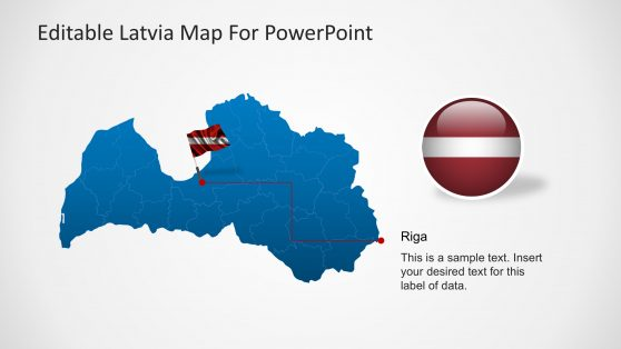 Latvia Map and Flag for PowerPoint
