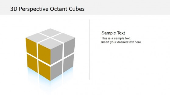 3D Cube Left Side in Gold PowerPoint Template