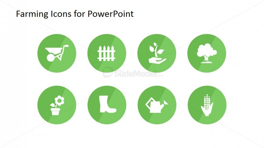 Eight Farming Icons for PowerPoint on Agriculture
