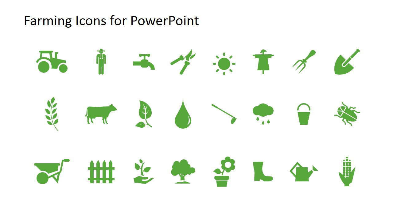 Farming Icons Powerpoint on Flower Pie Chart