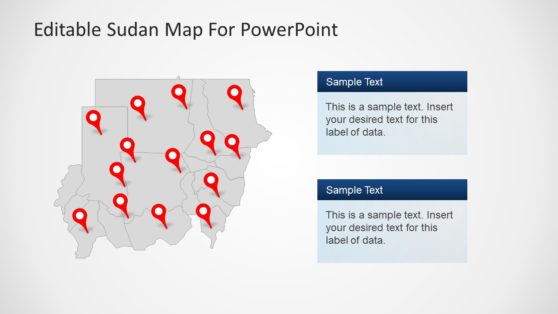 Sudan Pin Maps Shapes PowerPoint