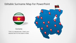 Editable Suriname Map for PowerPoint